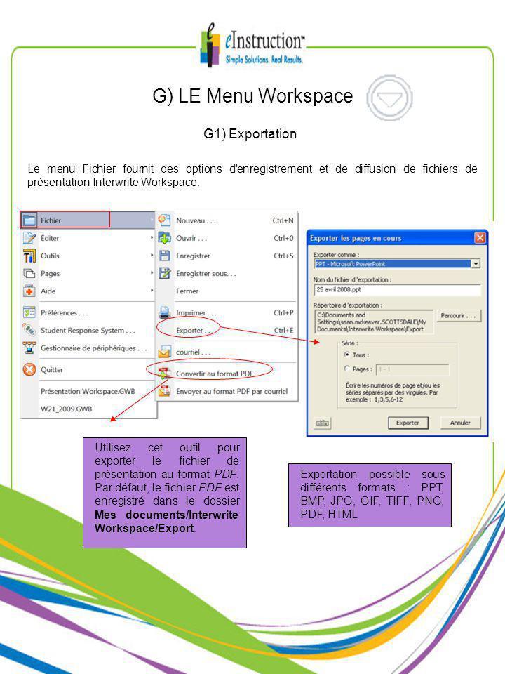G1) Exportation Le menu Fichier fournit des options d enregistrement et de diffusion de fichiers de présentation Interwrite Workspace.