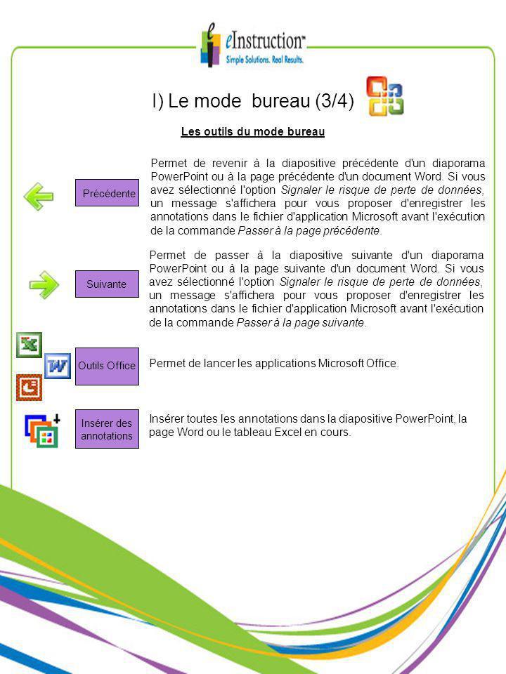 Les outils du mode bureau I) Le mode bureau (3/4) Permet de revenir à la diapositive précédente d un diaporama PowerPoint ou à la page précédente d un document Word.
