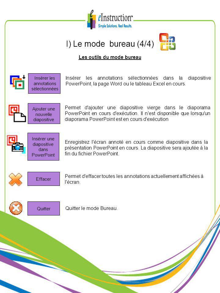 Les outils du mode bureau I) Le mode bureau (4/4) Insérer les annotations sélectionnées dans la diapositive PowerPoint, la page Word ou le tableau Excel en cours.
