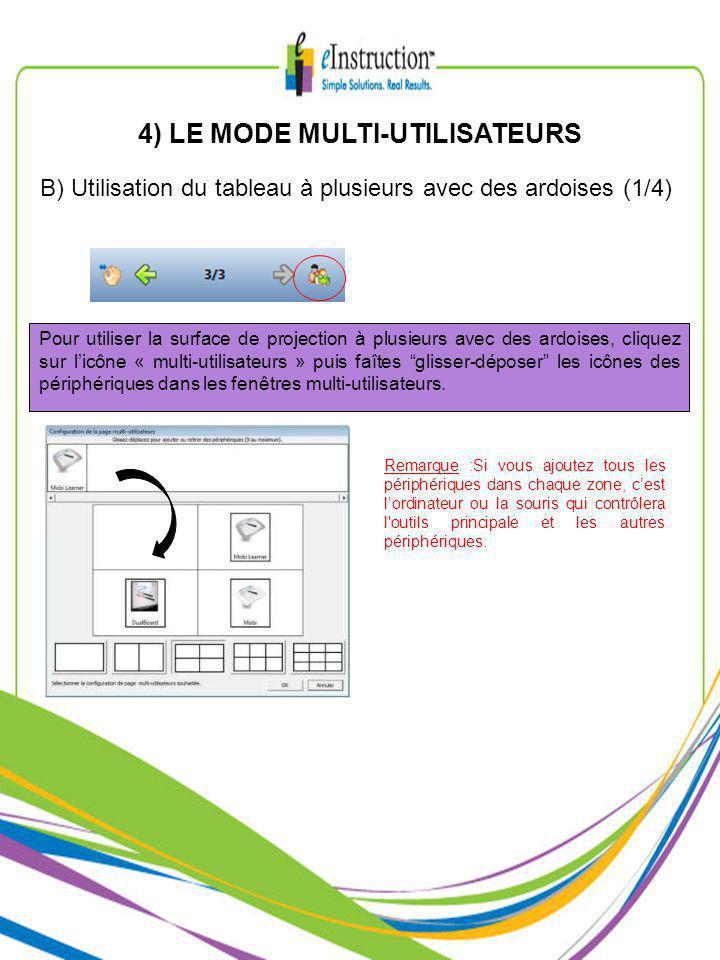 4) LE MODE MULTI-UTILISATEURS B) Utilisation du tableau à plusieurs avec des ardoises (1/4) Pour utiliser la surface de projection à plusieurs avec des ardoises, cliquez sur licône « multi-utilisateurs » puis faîtes glisser-déposer les icônes des périphériques dans les fenêtres multi-utilisateurs.