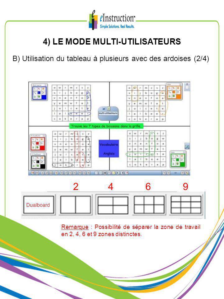 4) LE MODE MULTI-UTILISATEURS Remarque : Possibilité de séparer la zone de travail en 2, 4, 6 et 9 zones distinctes.
