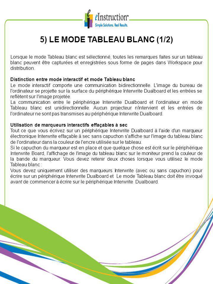 5) LE MODE TABLEAU BLANC (1/2) Lorsque le mode Tableau blanc est sélectionné, toutes les remarques faites sur un tableau blanc peuvent être capturées et enregistrées sous forme de pages dans Workspace pour distribution.
