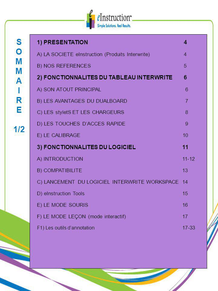 S O M A I R E 1/2 1) PRESENTATION 4 A) LA SOCIETE eInstruction (Produits Interwrite) 4 B) NOS REFERENCES 5 2) FONCTIONNALITES DU TABLEAU INTERWRITE 6 A) SON ATOUT PRINCIPAL 6 B) LES AVANTAGES DU DUALBOARD 7 C) LES styletS ET LES CHARGEURS 8 D) LES TOUCHES DACCES RAPIDE 9 E) LE CALIBRAGE 10 3) FONCTIONNALITES DU LOGICIEL11 A) INTRODUCTION11-12 B) COMPATIBILITE13 C) LANCEMENT DU LOGICIEL INTERWRITE WORKSPACE14 D) eInstruction Tools15 E) LE MODE SOURIS16 F) LE MODE LEÇON (mode interactif)17 F1) Les outils dannotation 17-33