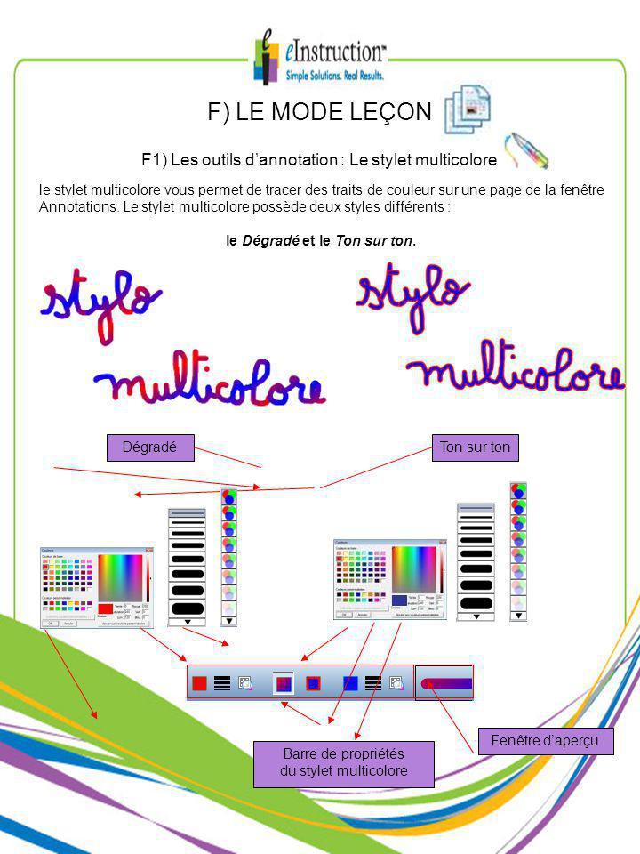le stylet multicolore vous permet de tracer des traits de couleur sur une page de la fenêtre Annotations.
