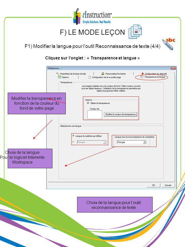 Modifier la transparence en fonction de la couleur du fond de votre page Choix de la langue Pour le logiciel Interwrite Workspace Choix de la langue pour loutil reconnaissance de texte F1) Modifier la langue pour loutil Reconnaissance de texte (4/4) F) LE MODE LEÇON Cliquez sur longlet : « Transparence et langue »