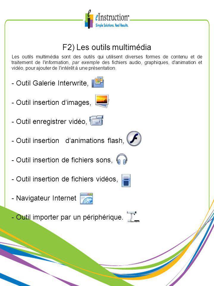 F2) Les outils multimédia Les outils multimédia sont des outils qui utilisent diverses formes de contenu et de traitement de l information, par exemple des fichiers audio, graphiques, d animation et vidéo, pour ajouter de l intérêt à une présentation.