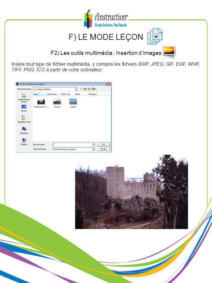 Insère tout type de fichier multimédia, y compris les fichiers BMP, JPEG, GIF, EMF, WMF, TIFF, PNG, ICO à partir de votre ordinateur.