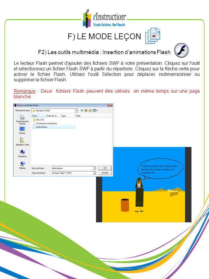 Le lecteur Flash permet d ajouter des fichiers SWF à votre présentation.