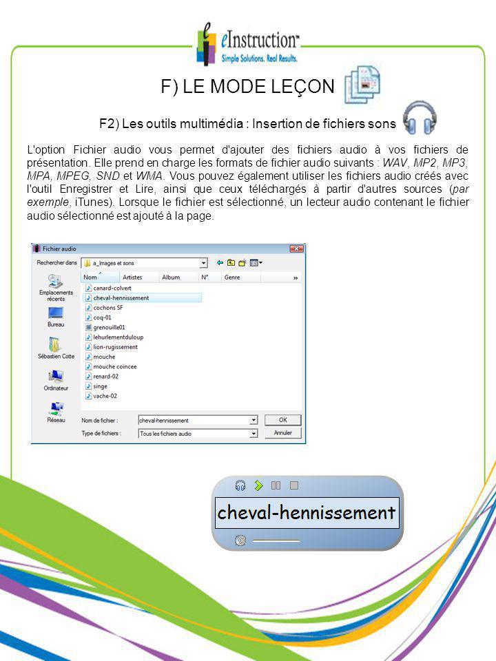 L option Fichier audio vous permet d ajouter des fichiers audio à vos fichiers de présentation.