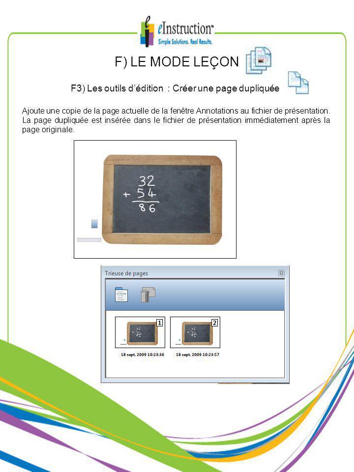 Ajoute une copie de la page actuelle de la fenêtre Annotations au fichier de présentation.