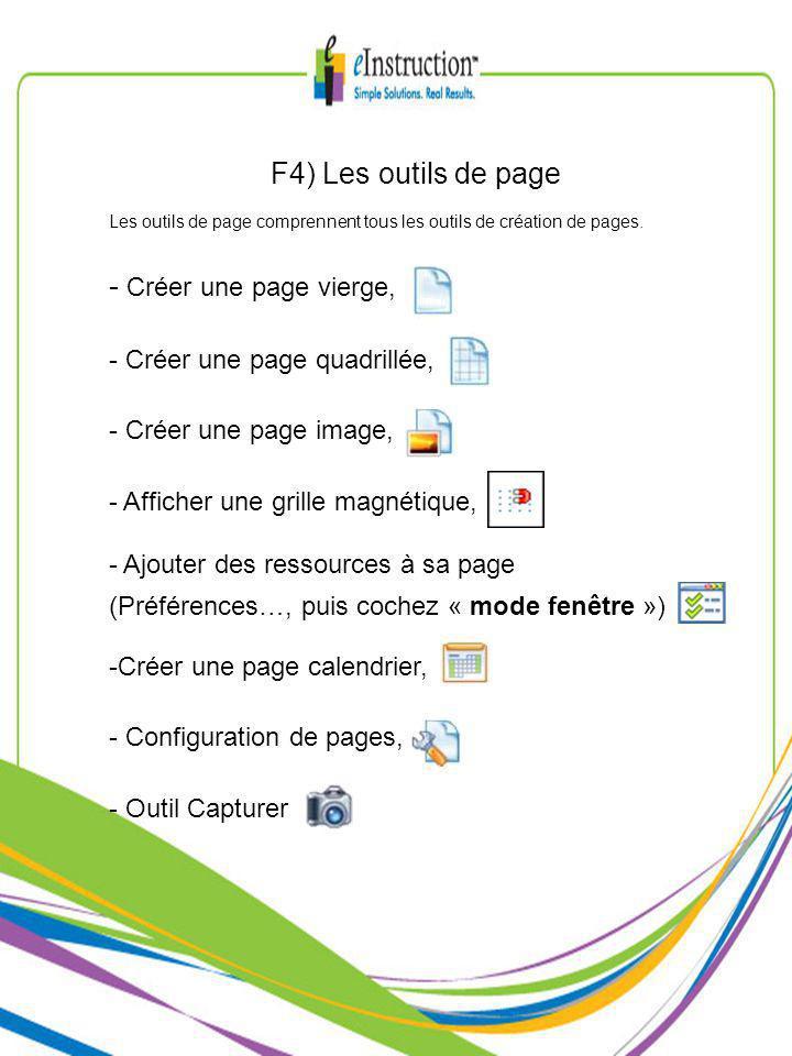 F4) Les outils de page Les outils de page comprennent tous les outils de création de pages.