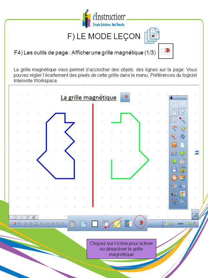F) LE MODE LEÇON La grille magnétique vous permet daccrocher des objets, des lignes sur la page.