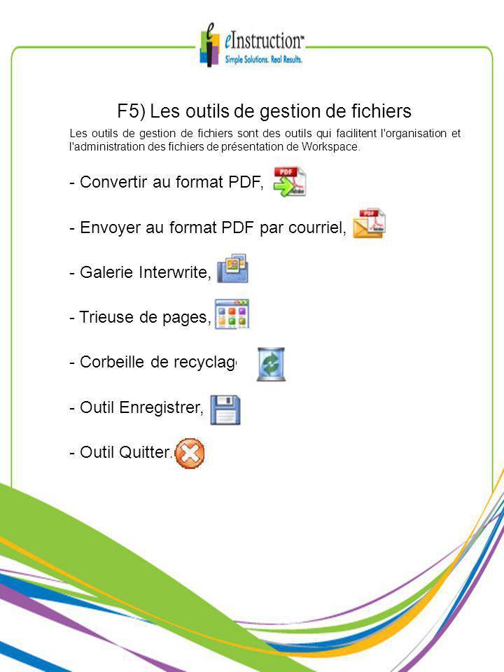 F5) Les outils de gestion de fichiers Les outils de gestion de fichiers sont des outils qui facilitent l organisation et l administration des fichiers de présentation de Workspace.