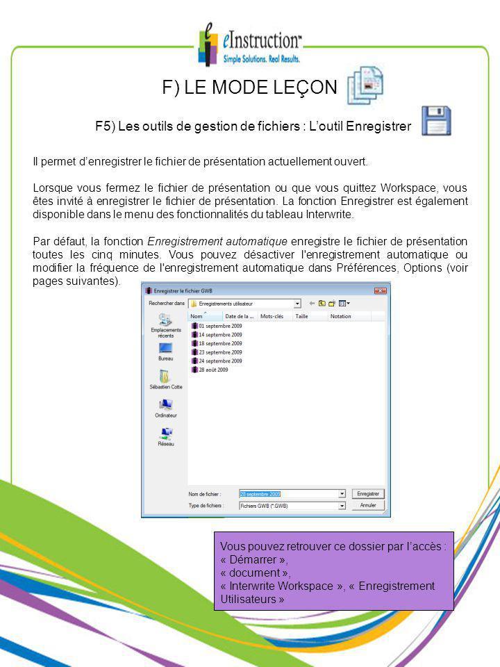 F) LE MODE LEÇON F5) Les outils de gestion de fichiers : Loutil Enregistrer Vous pouvez retrouver ce dossier par laccès : « Démarrer », « document », « Interwrite Workspace », « Enregistrement Utilisateurs » Il permet denregistrer le fichier de présentation actuellement ouvert.