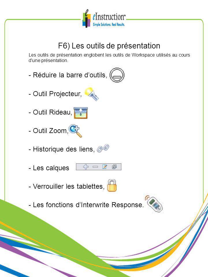 F6) Les outils de présentation Les outils de présentation englobent les outils de Workspace utilisés au cours d une présentation.
