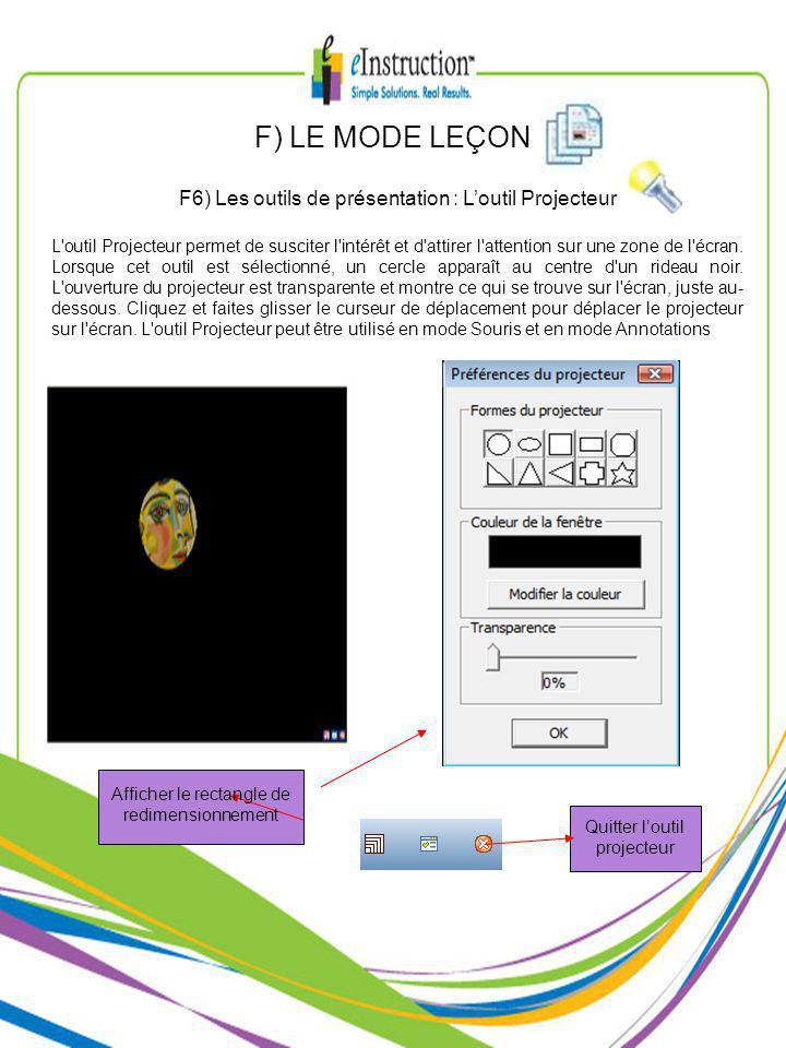 F) LE MODE LEÇON F6) Les outils de présentation : Loutil Projecteur L outil Projecteur permet de susciter l intérêt et d attirer l attention sur une zone de l écran.