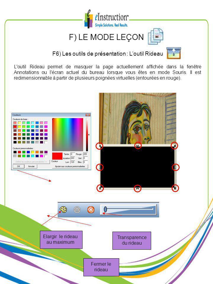 F) LE MODE LEÇON F6) Les outils de présentation : Loutil Rideau L outil Rideau permet de masquer la page actuellement affichée dans la fenêtre Annotations ou l écran actuel du bureau lorsque vous êtes en mode Souris.