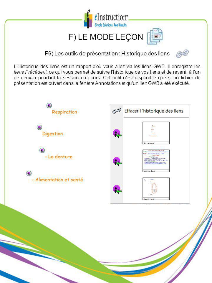 F) LE MODE LEÇON F6) Les outils de présentation : Historique des liens L Historique des liens est un rapport d où vous allez via les liens GWB.