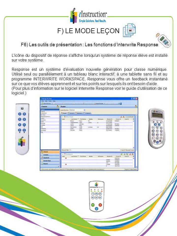 F) LE MODE LEÇON F6) Les outils de présentation : Les fonctions dInterwrite Response L icône du dispositif de réponse s affiche lorsqu un système de réponse élève est installé sur votre système.