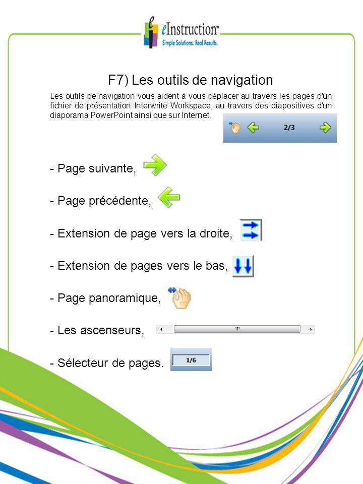 F7) Les outils de navigation Les outils de navigation vous aident à vous déplacer au travers les pages d un fichier de présentation Interwrite Workspace, au travers des diapositives d un diaporama PowerPoint ainsi que sur Internet.
