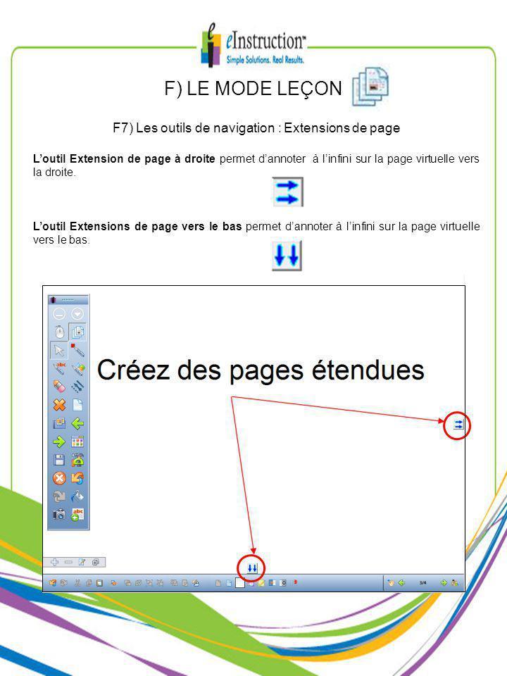 F) LE MODE LEÇON F7) Les outils de navigation : Extensions de page Loutil Extension de page à droite permet dannoter à linfini sur la page virtuelle vers la droite.