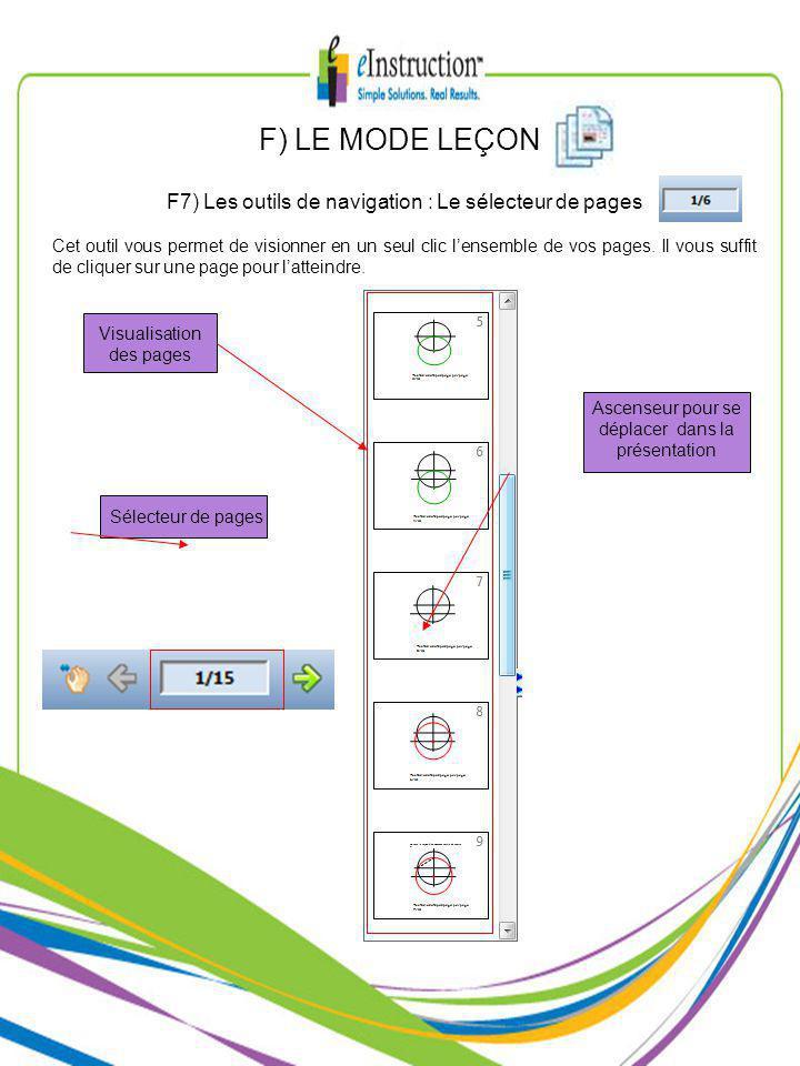 F) LE MODE LEÇON F7) Les outils de navigation : Le sélecteur de pages Cet outil vous permet de visionner en un seul clic lensemble de vos pages.
