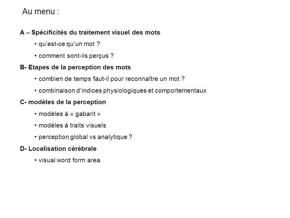 Perception visuelle et traitement sémantique M1 – UE15 cognition spatiale L.Sparrow 2006/2007 www.univ-lille3.fr/ureca/sparrow
