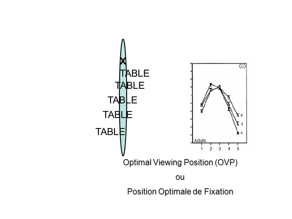 X TABLE Optimal Viewing Position (OVP) ou Position Optimale de Fixation
