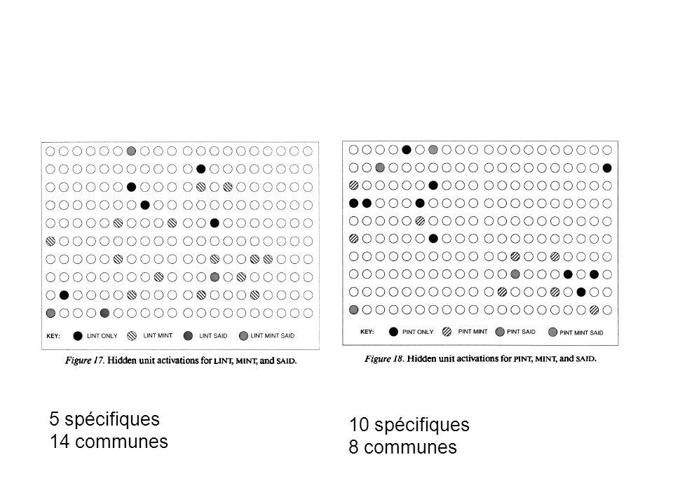 5 spécifiques 14 communes 10 spécifiques 8 communes
