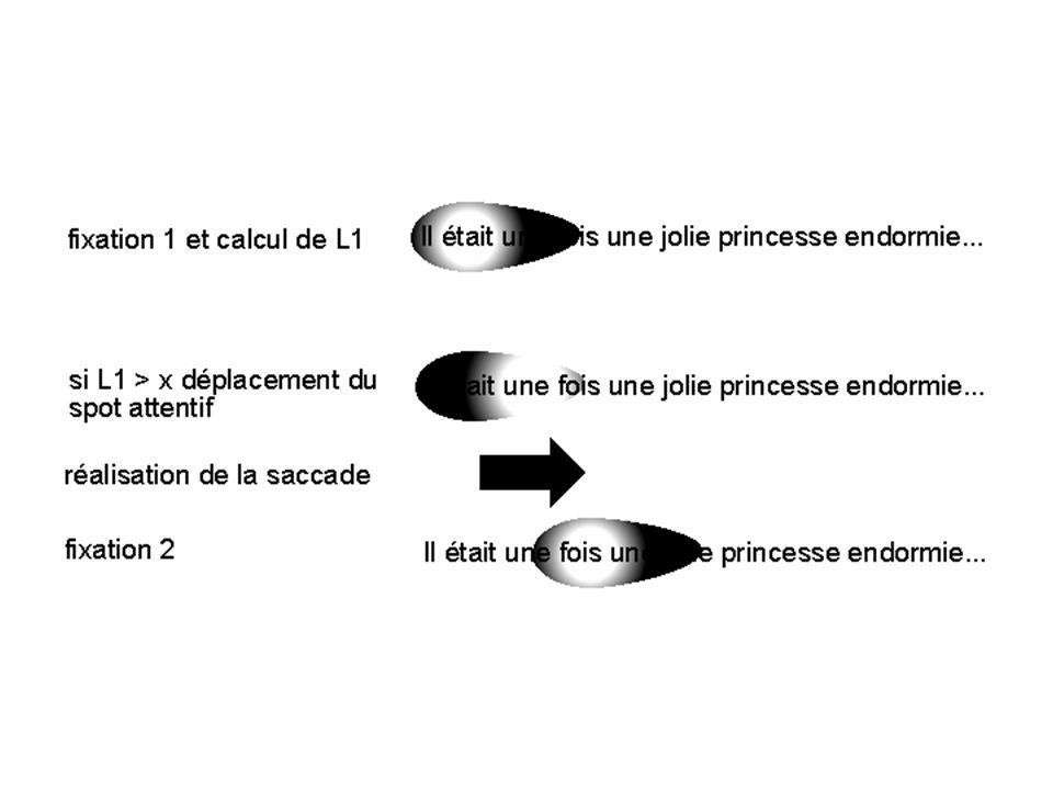 Plan : 1- Introduction - problèmes méthodologiques - perception visuelle et activités sémantiques 2 - Caractéristiques des mouvements oculaires 2.1 Générales 2.2 Techniques denregistrement 2.3 Exemples 3- Spécificités des MO en lecture 3.1 Données générales 3.2 Indices utilisés 3.3 Données empiriques - Effets classiques - Médiation phonologique - Vision parafovéale 3.4 MO et dyslexie 4- Contrôle moteur