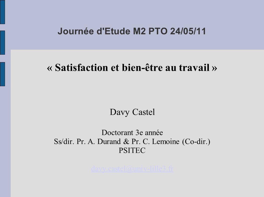 Journée d Etude M2 PTO 24/05/11 « Satisfaction et bien-être au travail » Davy Castel Doctorant 3e année Ss/dir.