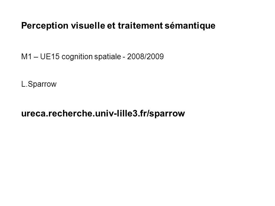 Perception visuelle et traitement sémantique M1 – UE15 cognition spatiale - 2008/2009 L.Sparrow ureca.recherche.univ-lille3.fr/sparrow