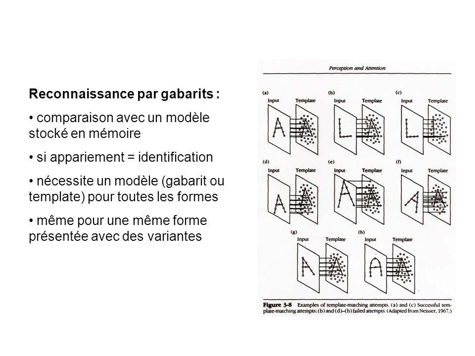 Reconnaissance par gabarits : comparaison avec un modèle stocké en mémoire si appariement = identification nécessite un modèle (gabarit ou template) pour toutes les formes même pour une même forme présentée avec des variantes