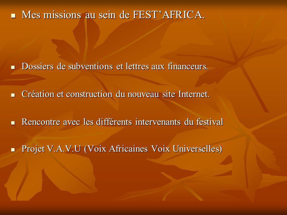 Mes missions au sein de FESTAFRICA. Mes missions au sein de FESTAFRICA.