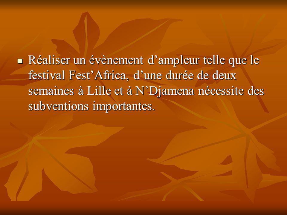 Réaliser un évènement dampleur telle que le festival FestAfrica, dune durée de deux semaines à Lille et à NDjamena nécessite des subventions importantes.