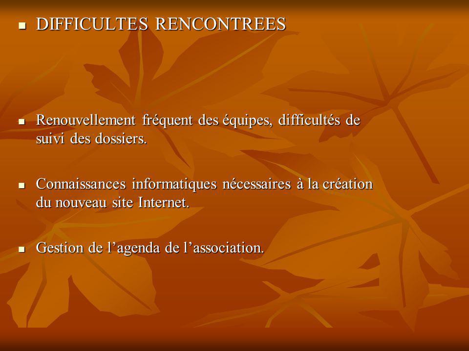 DIFFICULTES RENCONTREES DIFFICULTES RENCONTREES Renouvellement fréquent des équipes, difficultés de suivi des dossiers.