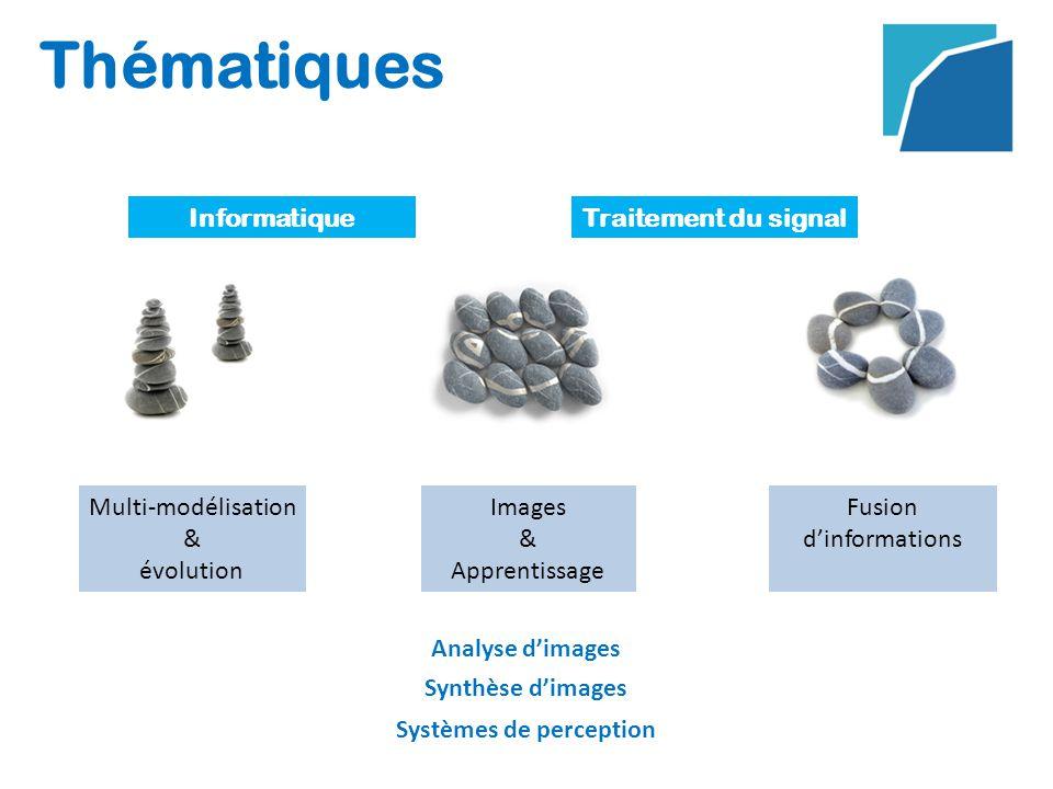 Thématiques InformatiqueTraitement du signal Multi-modélisation & évolution Fusion dinformations Analyse dimages Images & Apprentissage Synthèse dimages Systèmes de perception