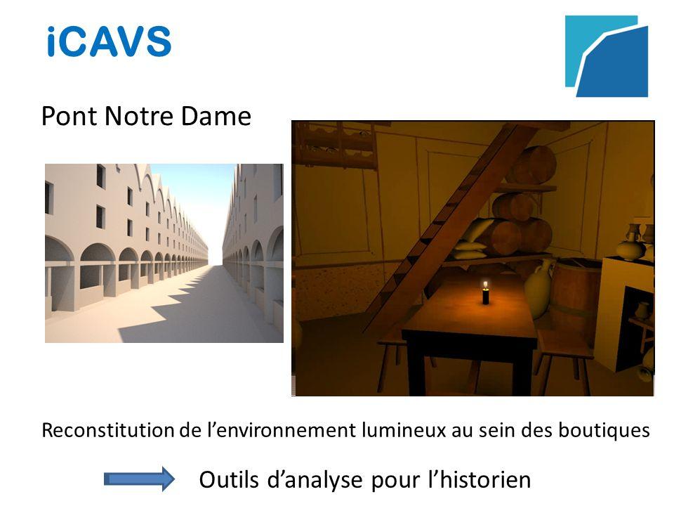 iCAVS Pont Notre Dame Reconstitution de lenvironnement lumineux au sein des boutiques Outils danalyse pour lhistorien