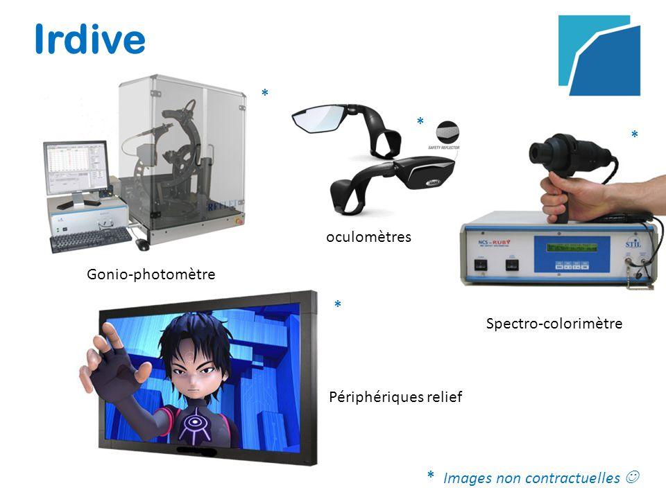 Irdive oculomètres Gonio-photomètre Spectro-colorimètre Périphériques relief * * * * *Images non contractuelles