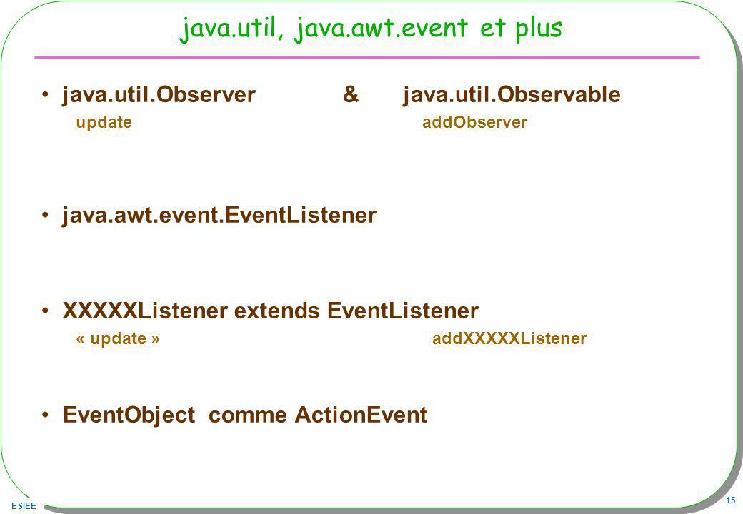 ESIEE 15 java.util, java.awt.event et plus java.util.Observer & java.util.Observable update addObserver java.awt.event.EventListener XXXXXListener extends EventListener « update » addXXXXXListener EventObject comme ActionEvent