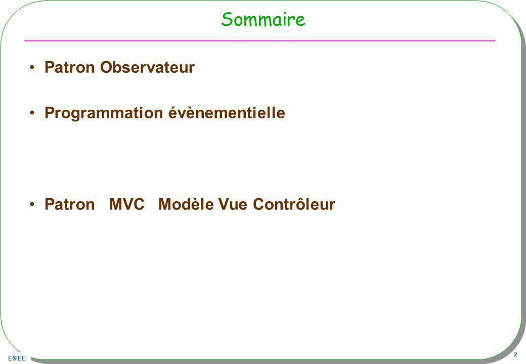 ESIEE 2 Sommaire Patron Observateur Programmation évènementielle Patron MVC Modèle Vue Contrôleur
