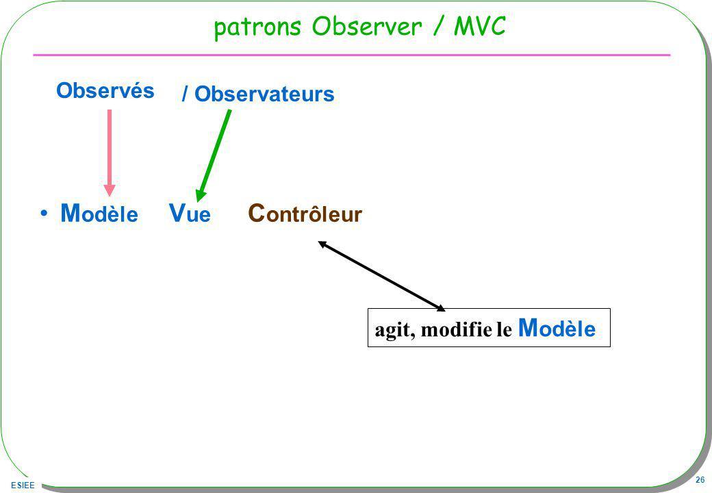 ESIEE 26 patrons Observer / MVC M odèle V ue C ontrôleur agit, modifie le M odèle Observés / Observateurs