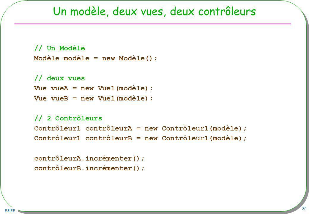 ESIEE 37 Un modèle, deux vues, deux contrôleurs // Un Modèle Modèle modèle = new Modèle(); // deux vues Vue vueA = new Vue1(modèle); Vue vueB = new Vue1(modèle); // 2 Contrôleurs Contrôleur1 contrôleurA = new Contrôleur1(modèle); Contrôleur1 contrôleurB = new Contrôleur1(modèle); contrôleurA.incrémenter(); contrôleurB.incrémenter();