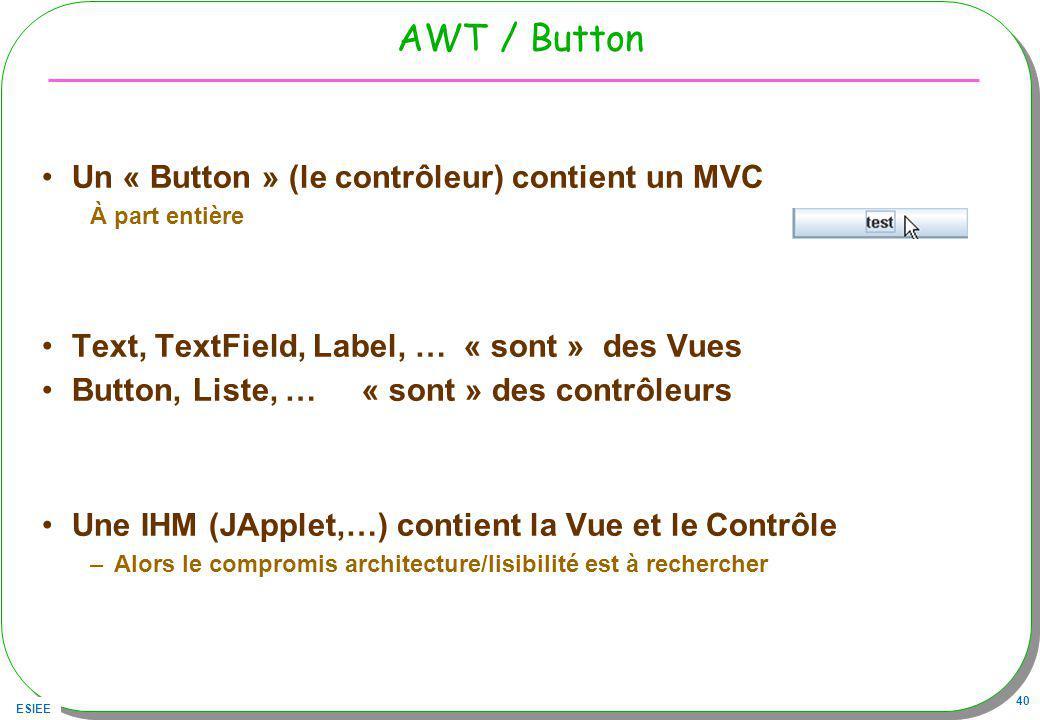 ESIEE 40 AWT / Button Un « Button » (le contrôleur) contient un MVC À part entière Text, TextField, Label, … « sont » des Vues Button, Liste, …« sont » des contrôleurs Une IHM (JApplet,…) contient la Vue et le Contrôle –Alors le compromis architecture/lisibilité est à rechercher
