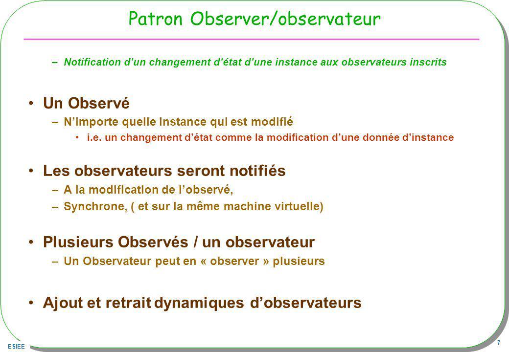 ESIEE 7 Patron Observer/observateur –Notification dun changement détat dune instance aux observateurs inscrits Un Observé –Nimporte quelle instance qui est modifié i.e.