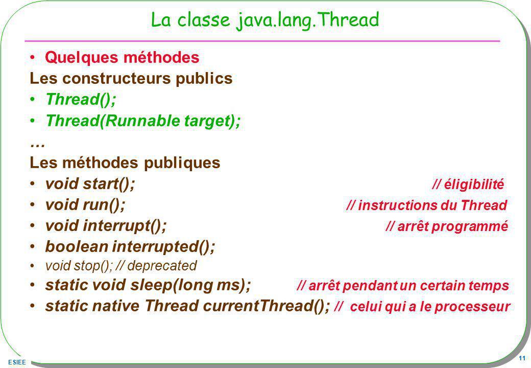 ESIEE 11 La classe java.lang.Thread Quelques méthodes Les constructeurs publics Thread(); Thread(Runnable target); … Les méthodes publiques void start