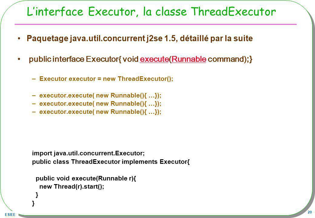 ESIEE 20 Linterface Executor, la classe ThreadExecutor Paquetage java.util.concurrent j2se 1.5, détaillé par la suite public interface Executor{ void