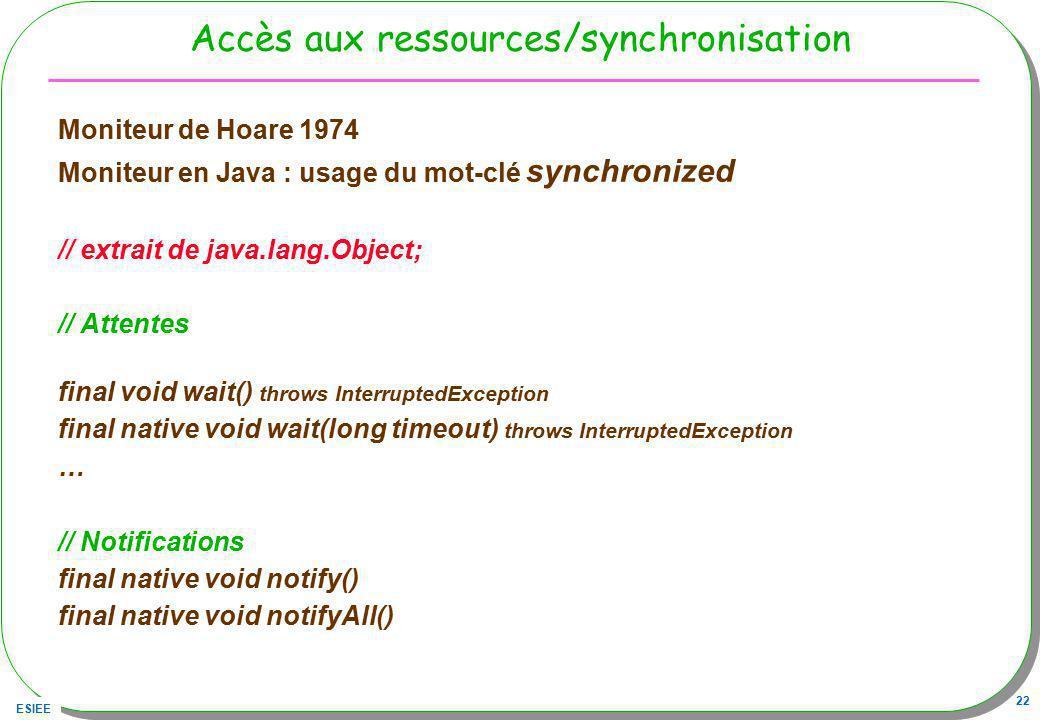 ESIEE 22 Accès aux ressources/synchronisation Moniteur de Hoare 1974 Moniteur en Java : usage du mot-clé synchronized // extrait de java.lang.Object;