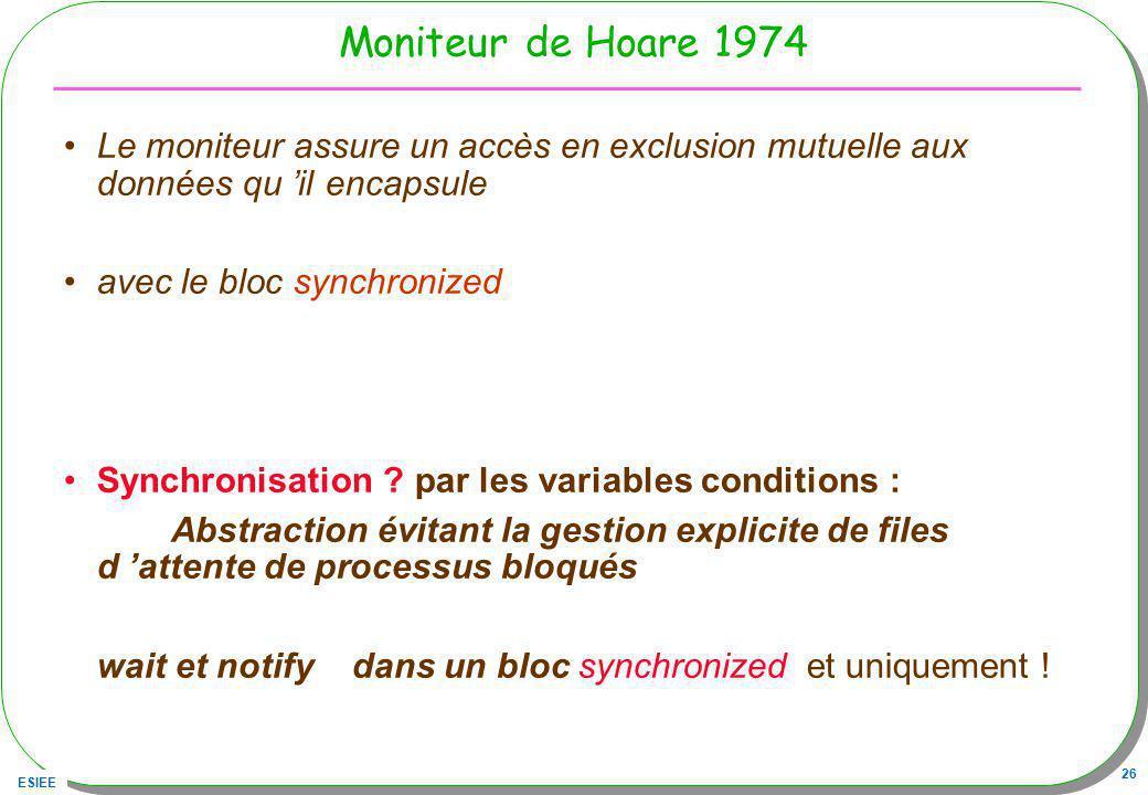 ESIEE 26 Moniteur de Hoare 1974 Le moniteur assure un accès en exclusion mutuelle aux données qu il encapsule avec le bloc synchronized Synchronisatio