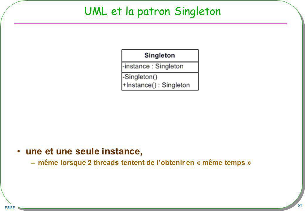 ESIEE 51 UML et la patron Singleton une et une seule instance, –même lorsque 2 threads tentent de lobtenir en « même temps »
